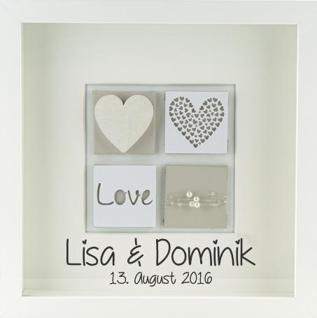 Personalisiertes Hochzeitsgeschenk Hochzeitsbild love beige