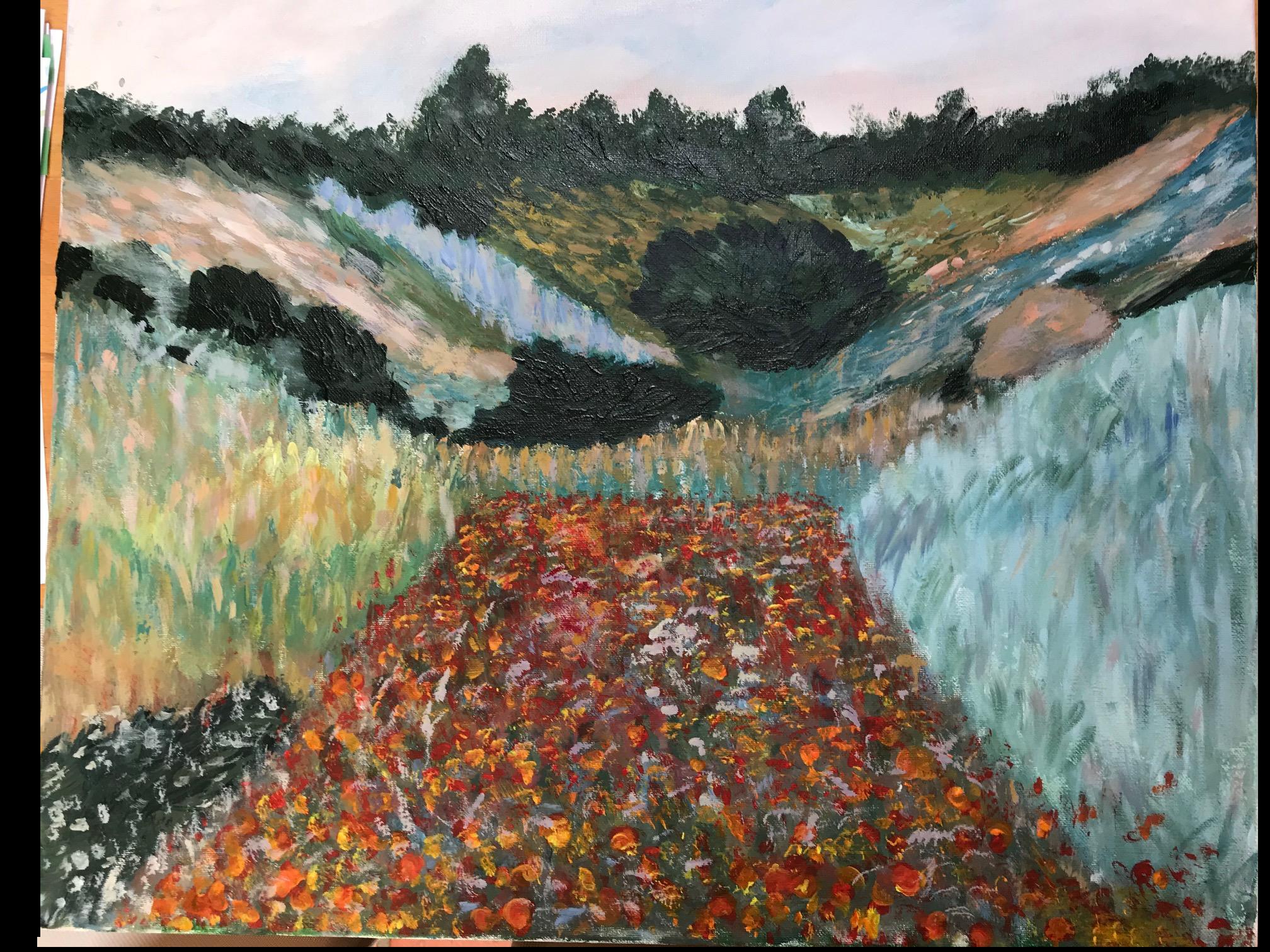 Mein dritter Monet (Pinsel  und Spachtel kombiniert)