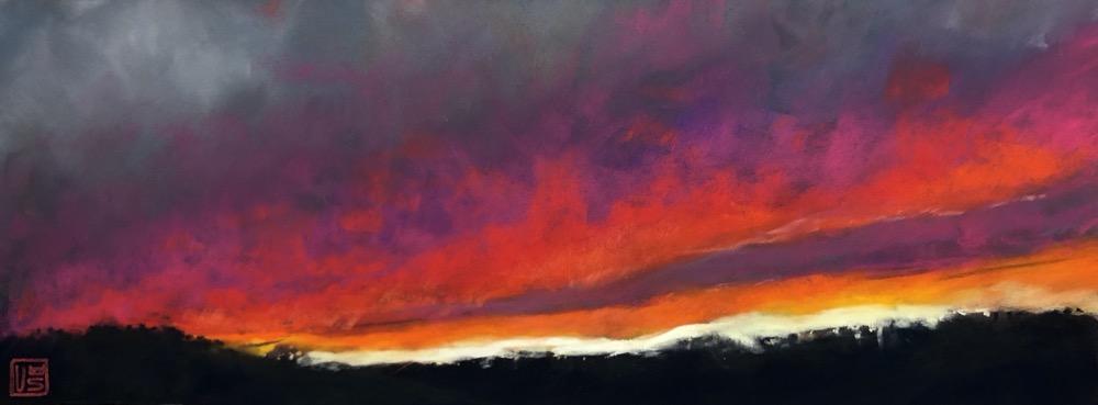 Rote Wolken, 15 x 40 cm, Pastell