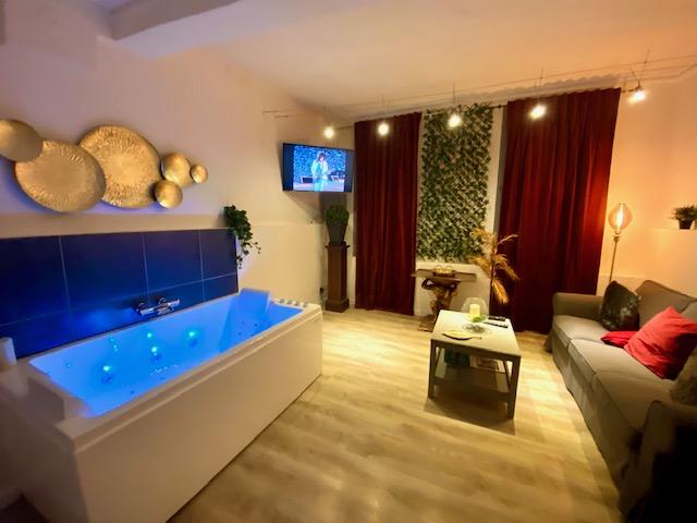 Salon Cosy, Jacuzzi privatif 2 personnes luxe, canapé qualité, TV connectée NETFLIX YOUTUBE ..