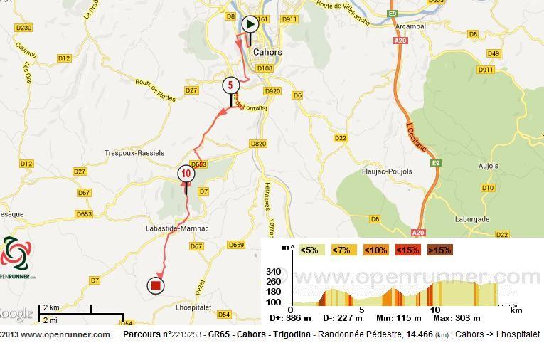 Cahors, Lhospitalet, Trigodina, Carte, IGN, GR65