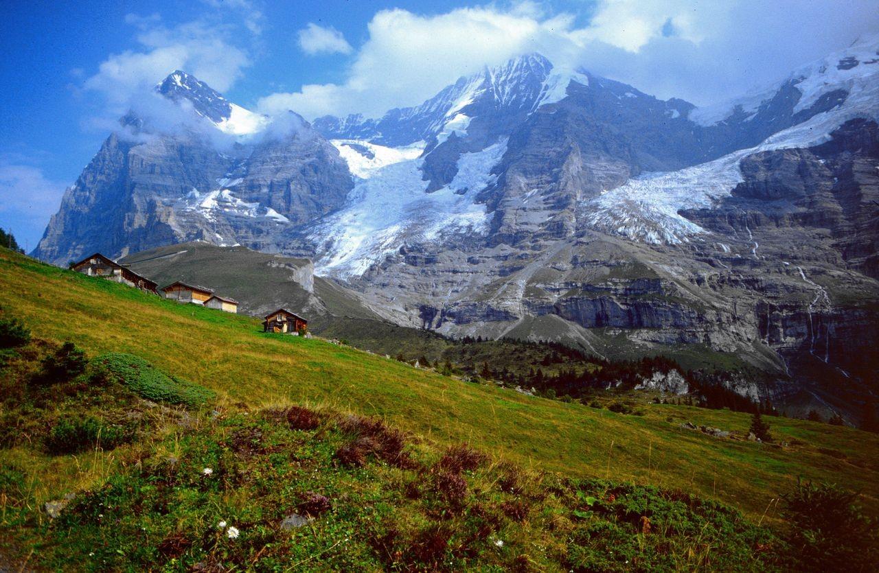 Die Wengernalp mit Eiger, Eigergletscher, Mönch, Jungfraujoch und Jungfrau