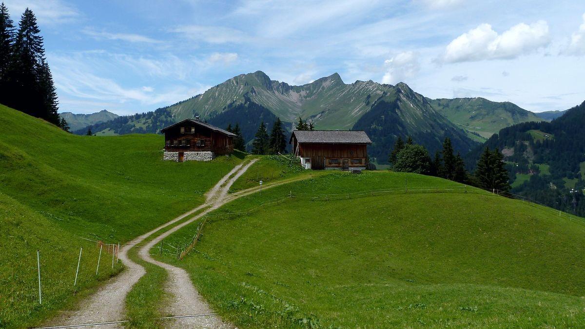 Alphütten bei Hintersteinbild. Dahinter Türtschhorn und Glatthorn.