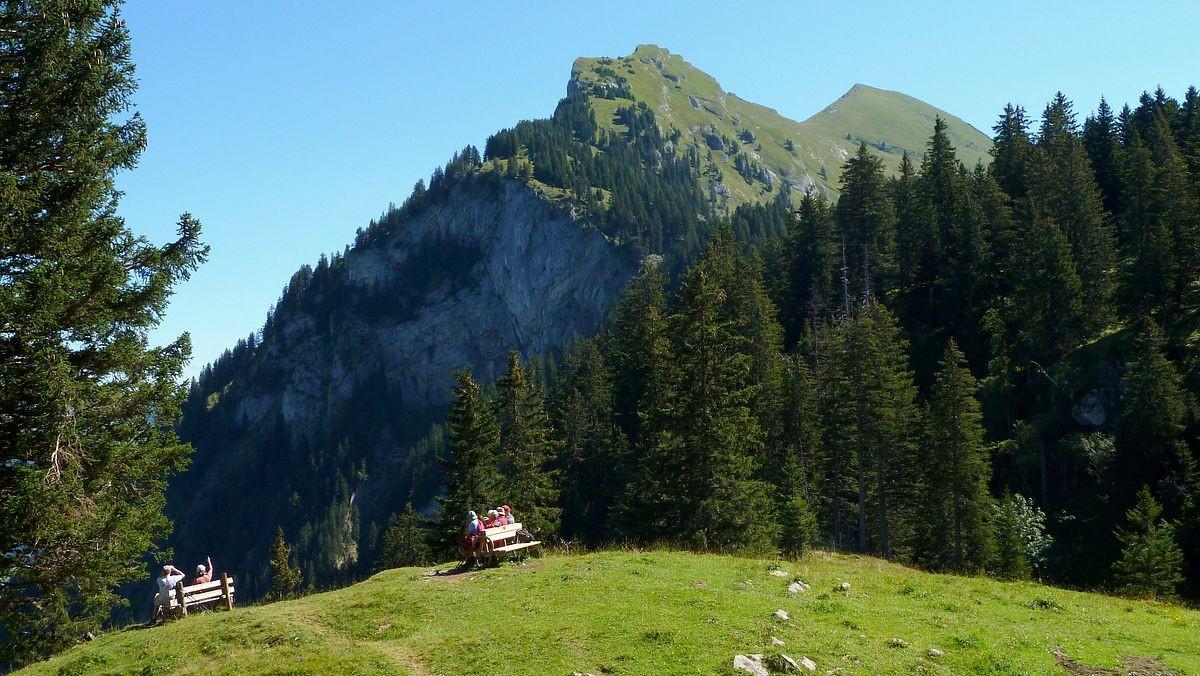 Schöner Rast- und Aussichtsplatz auf Kanisfluh, Tal der Bregenzerache und ins Gebiet der Kanisalpe