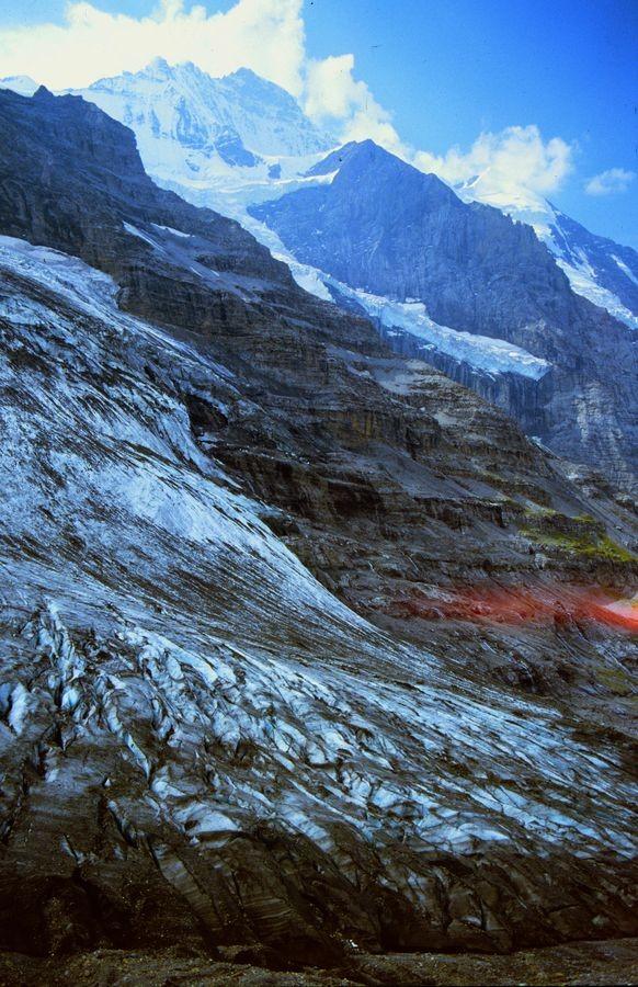 Der Wiesenpfad von der Station Eigergletscher führte nahe an der Zunge des Gletschers vorbei.
