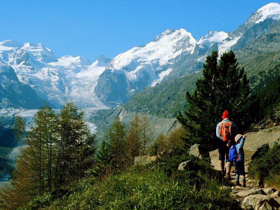 Foto von 1981 mit Minolta SRT: Morteratschgletscher, Piz Bernina und Bellavista vom Weg zur Bovalhütte