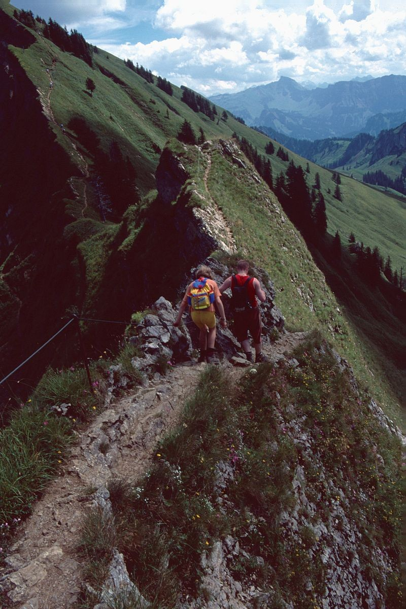 Auf teilweise schmalen, drahtseilversicherten Gratstücken verläuft der Weg über den Hasenstrick zur Winterstaude.