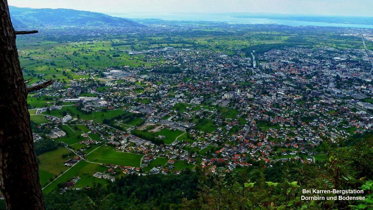 Dornbirn und Bodensee von der Karren Bergstation
