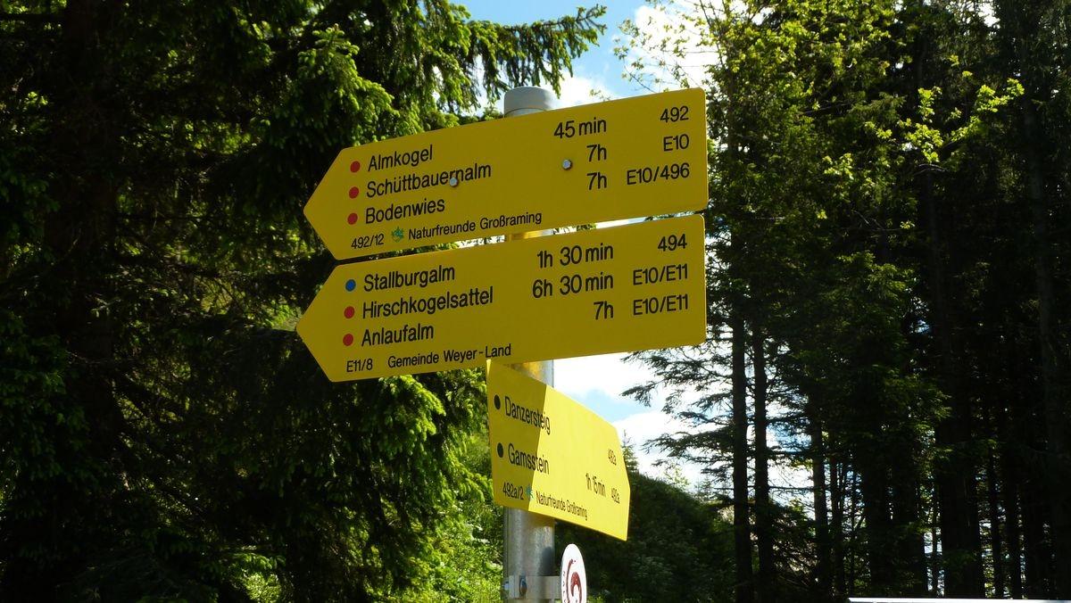 Wegweiser bei der Ennser Hütte