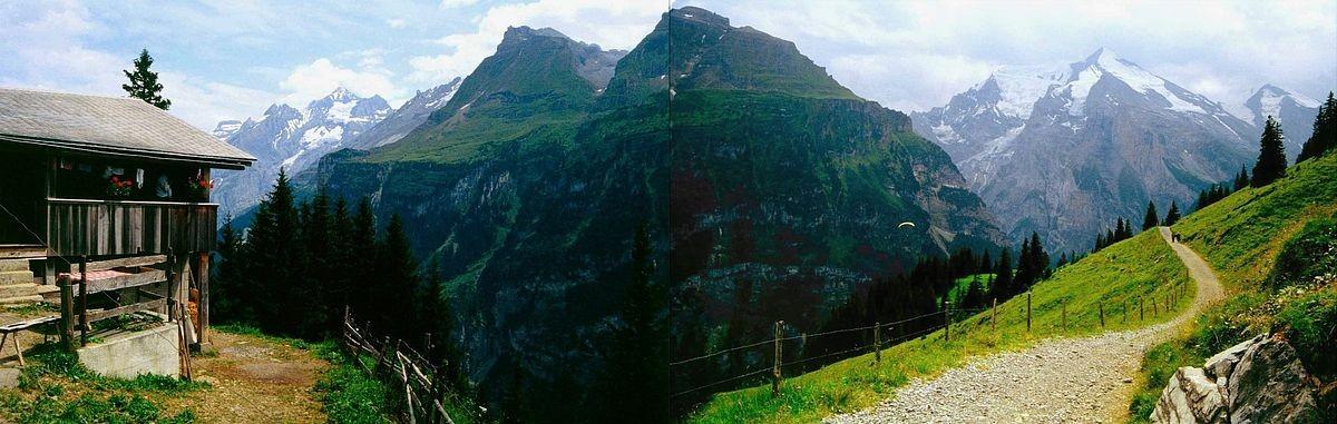 Panoramaaufnahme (Fotomontage) von Ryharts zu Blümlisalp - Fisistock - Balmhorn Altels und Rinderhorn