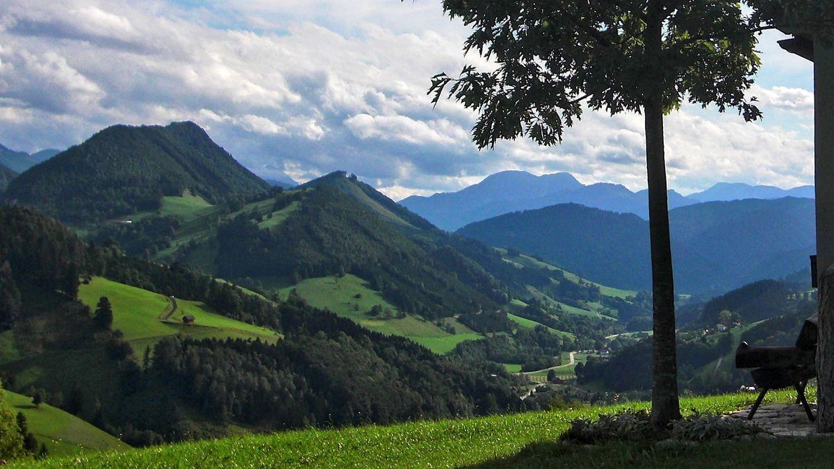 Bank mit wunderschöner Sicht auf die Bergwelt um Maria Neustift