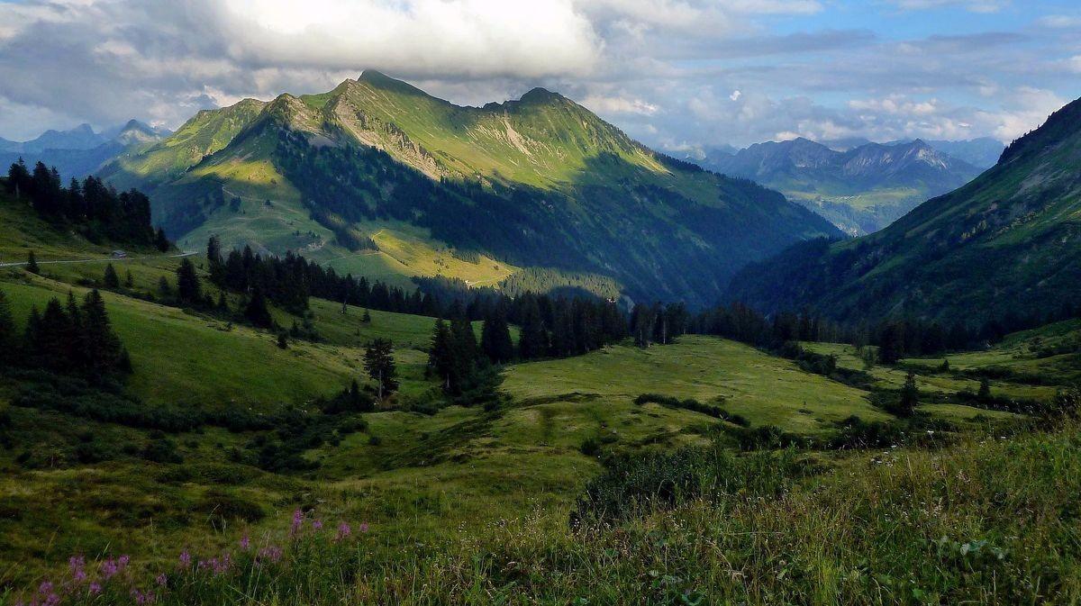 Damülser Glatthorn, Türtschhorn und Blick ins Große Walsertal vom Furkajoch
