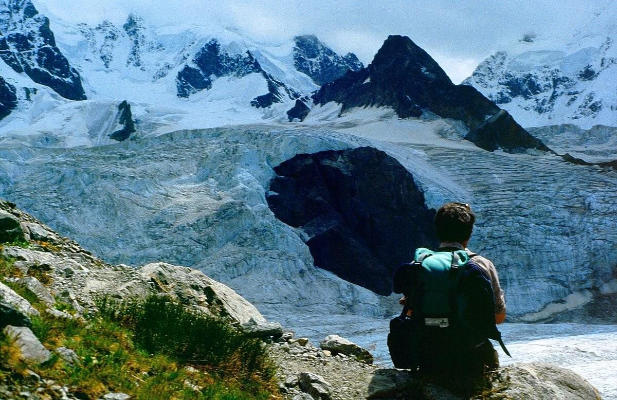 Pi z Scerscen und Piz Umur über dem wilden Tschiervagletscher