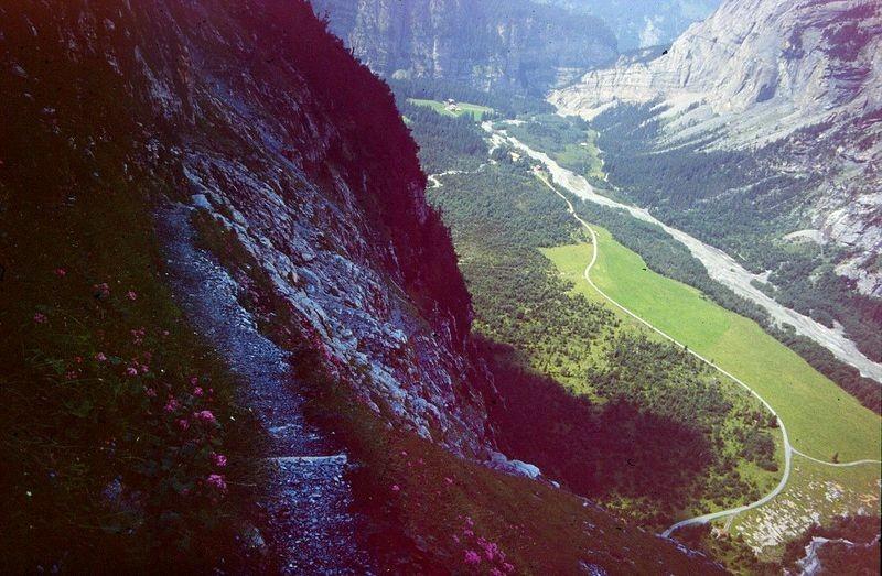 Foto von 1992: Hüttenweg in der steilen Balmhorn-Nordflanke