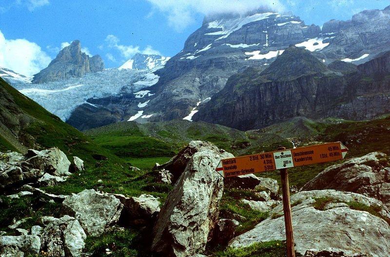 Im Alpgebiet bei Oberbärgli. Blick auf Blümlisalpgletscher.