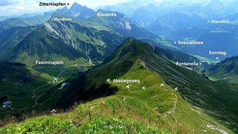 Auf dem Glatthorn. Abstiegsroute nach Osten.