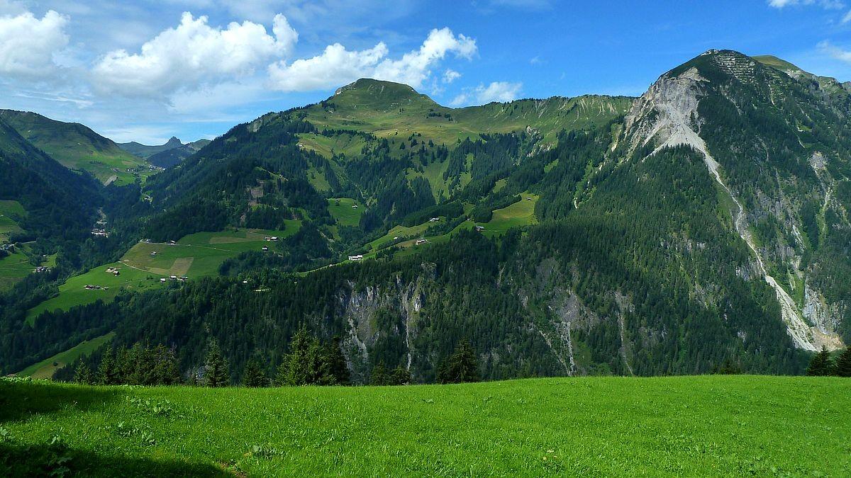 Zafernhorn und Blasenka vom Wanderweg zwischen Stein und Steinbild Vorsäß