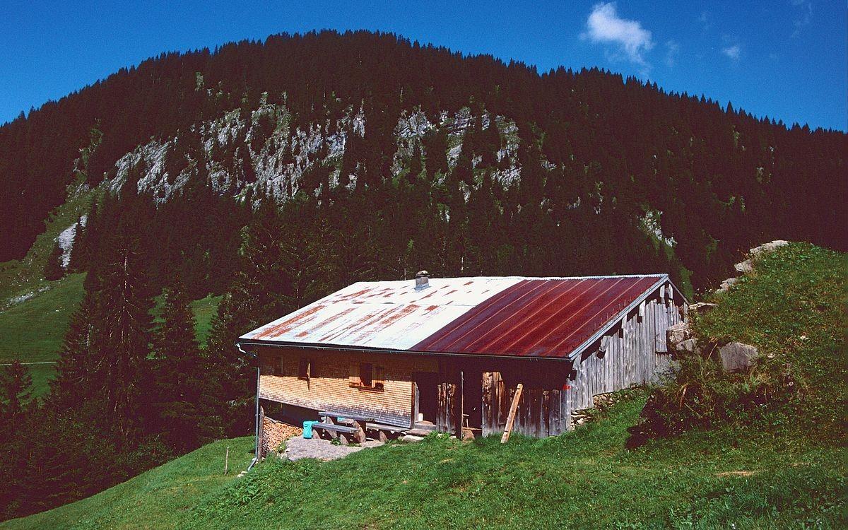 Lawinenschutzwall vor der Alphütte