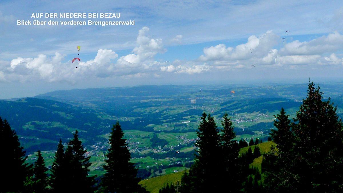 Auf der Baumgartenhöhe mit Blick über den vorderen Bregenzerwald und ins Westallgäuer Voralpenland hinaus.