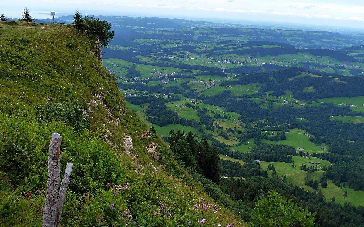 Der Steilabfall der Vorderen Niedere. Blick zum Bodensee und auf den vorderen Bregenzerwald