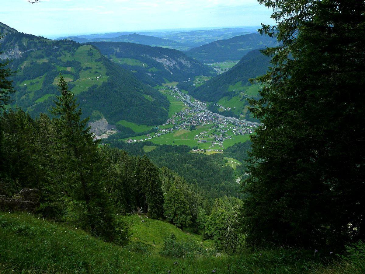 Tiefblick von einem bewaldeten Felskopf westlich der Roßstelle auf Mellau
