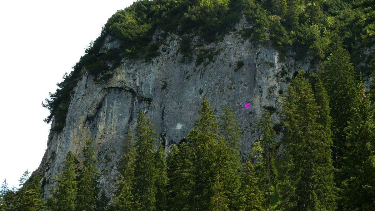 Kletterer in der Wandfluh (siehe rosa Pfeil)