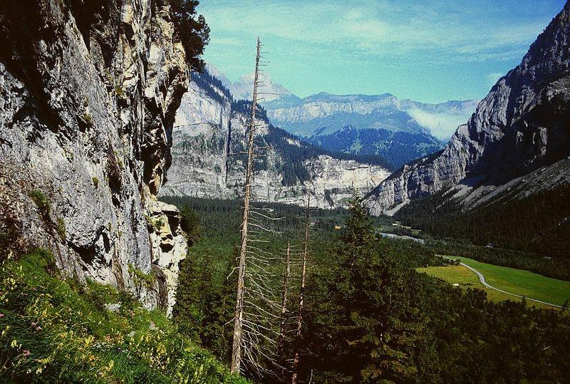 Foto von 1992: Am Steig zur Balmhornhütte mit Blick ins Gasterntal Richtung Chlüs