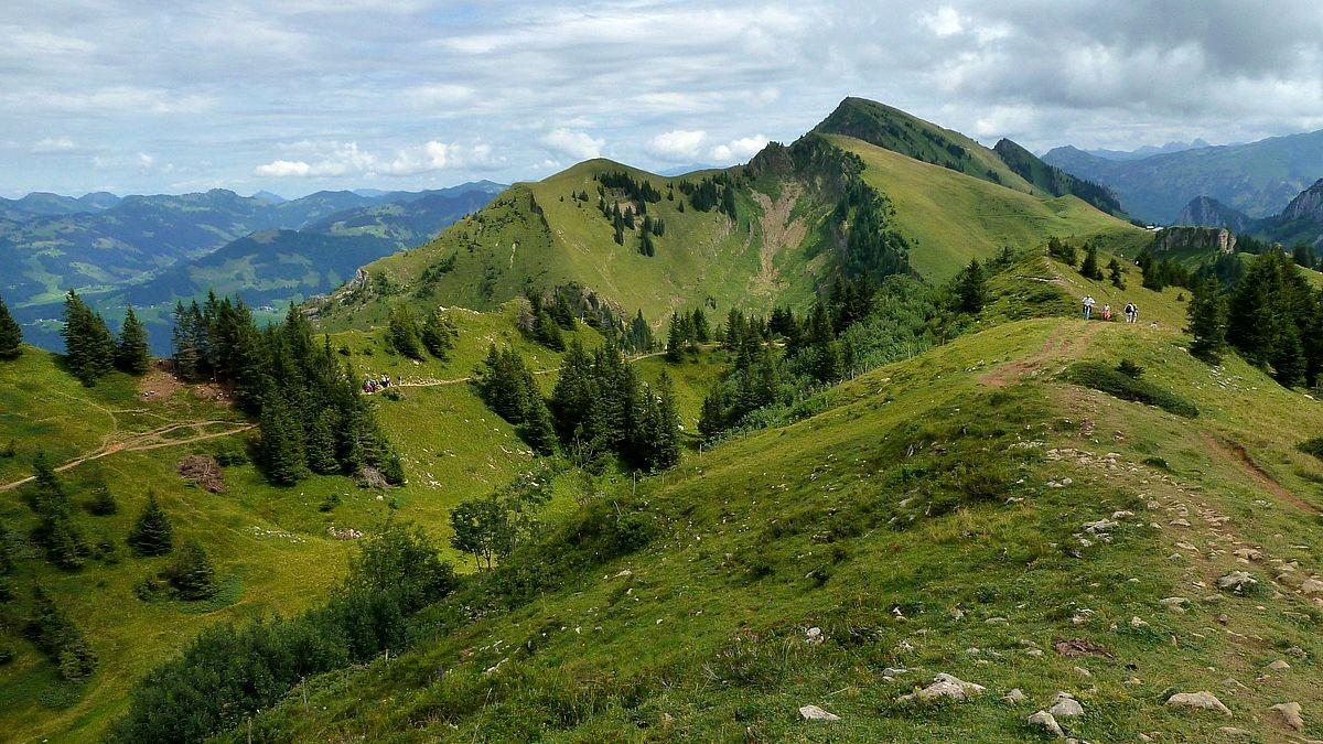 Die Wendeschleife des Panorama-Rundwegs. Dahinter Tristenkopf und Winterstaude.