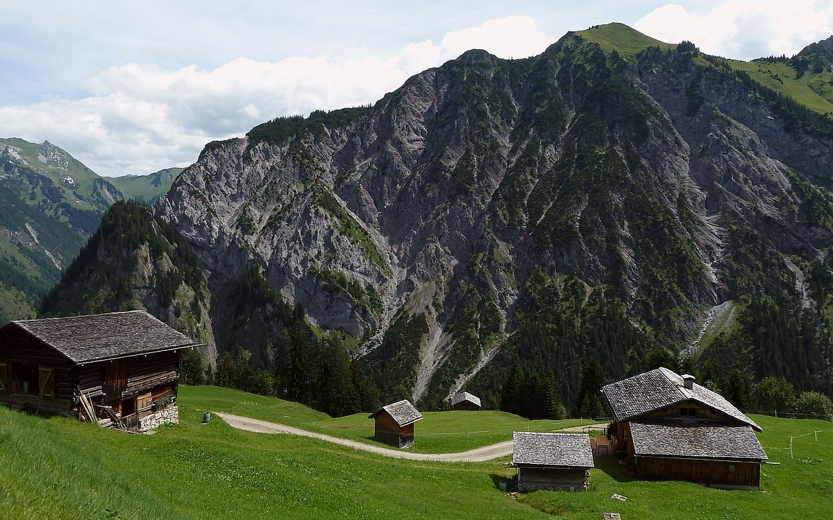 Die zerstreute Alpsiedlung Hintersteinbild  im Gebiet Küngswald gegen Wangspitgze und Madonakopf
