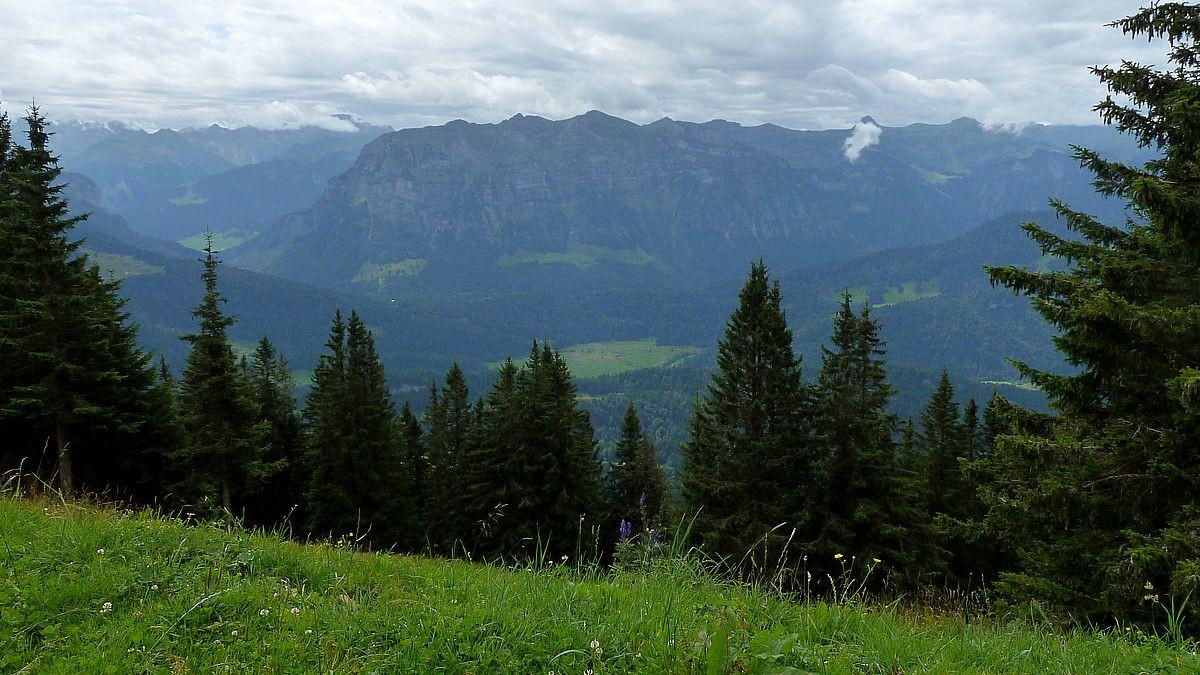 Blick von der Baumgartenhöhe zu Kanisfluh und Damülserkamm.