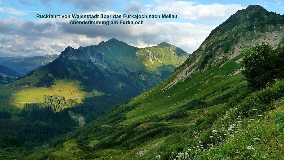 Damülser Glatthorn und Türtschhorn vom Furkajoch am Abend