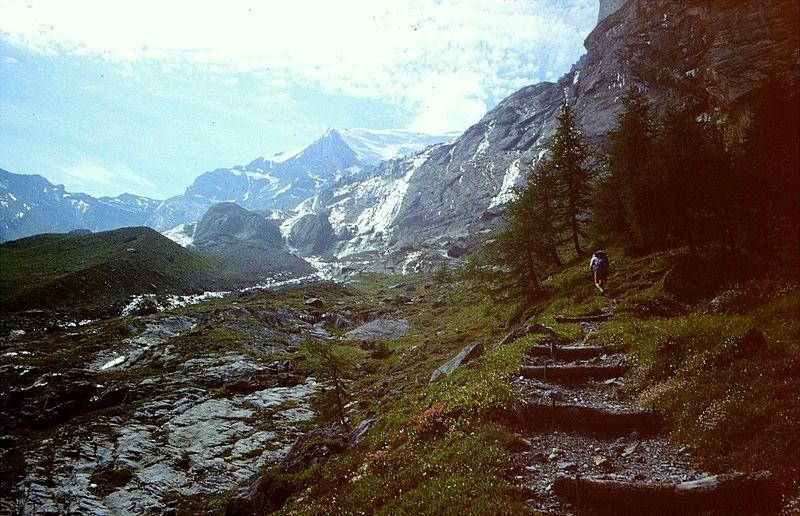 Foto von 1992: Steiler Anstieg Richtung Balmhorngletscher