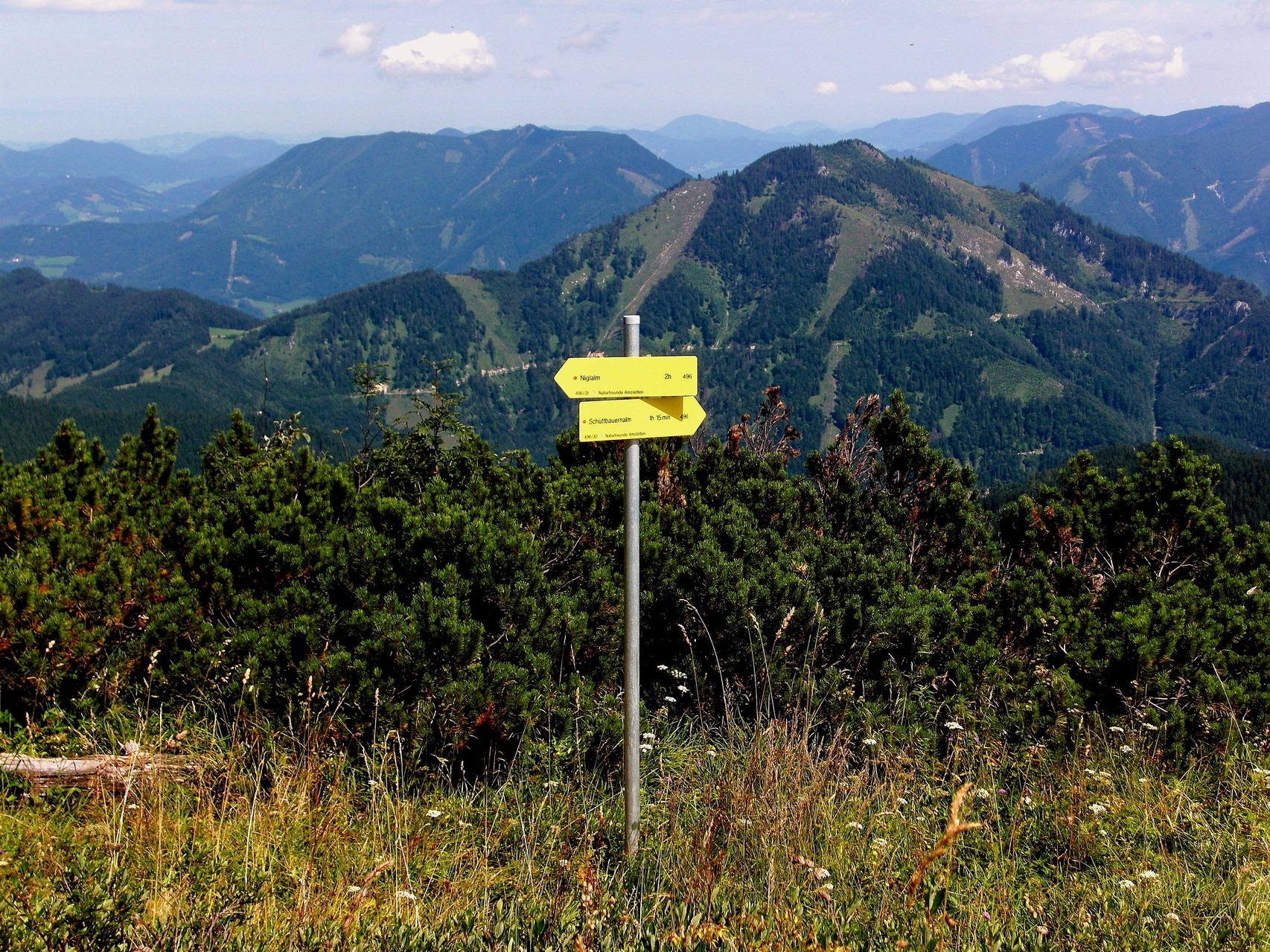 Wegweiser am Gipfel der Bodenwies