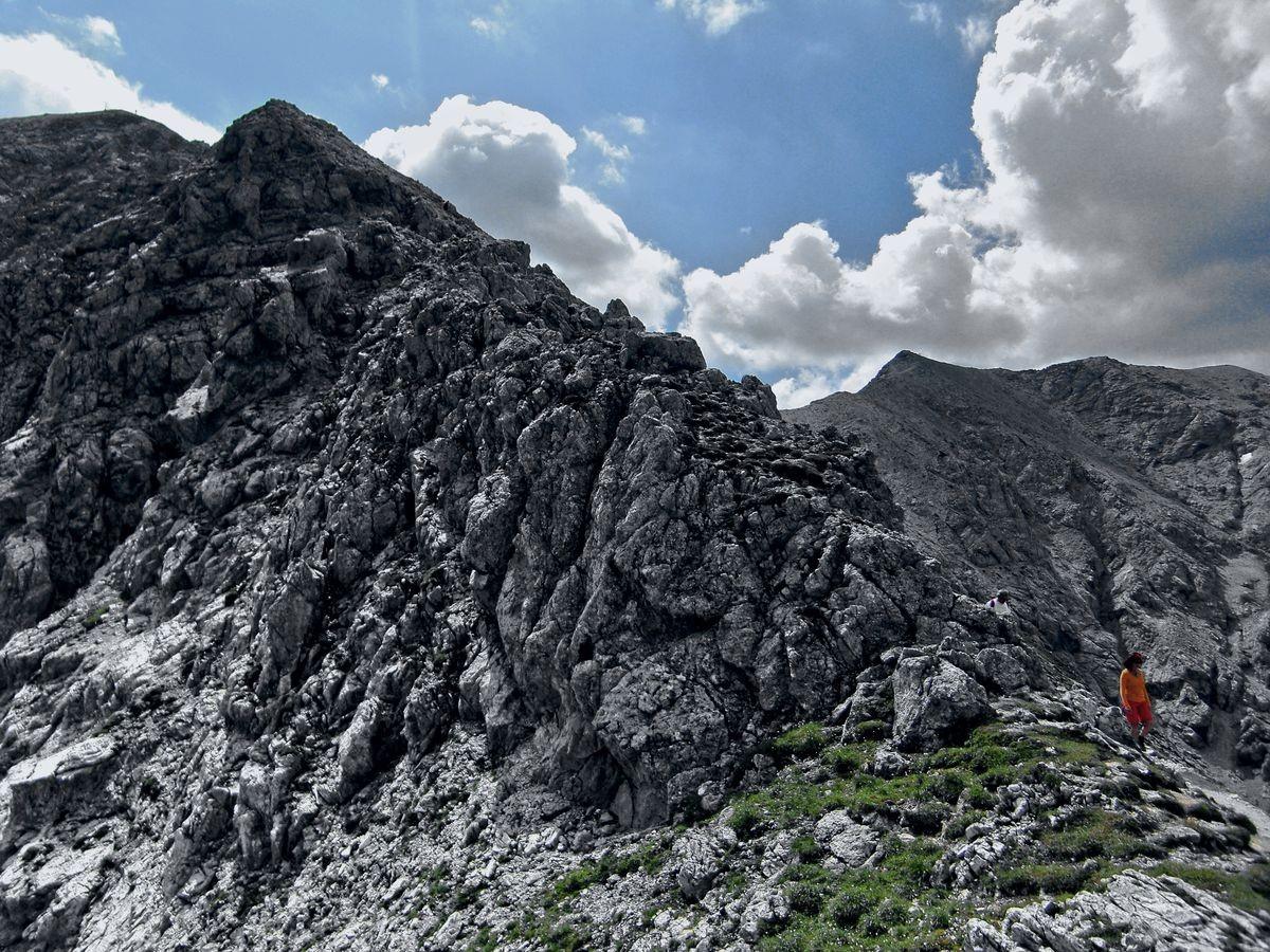 Übergang vom Hans Rubenzucker Steig auf die Schafkögel beim Abstieg