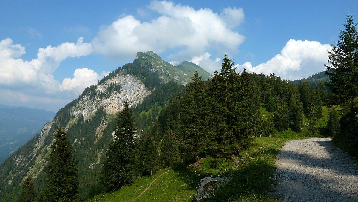 Am Weg Roßstelle - Kanisalpe. Im Bild der westliche Gipfel und Abbruch der Kanisfluh, der Hoher Stoss genannt wird.