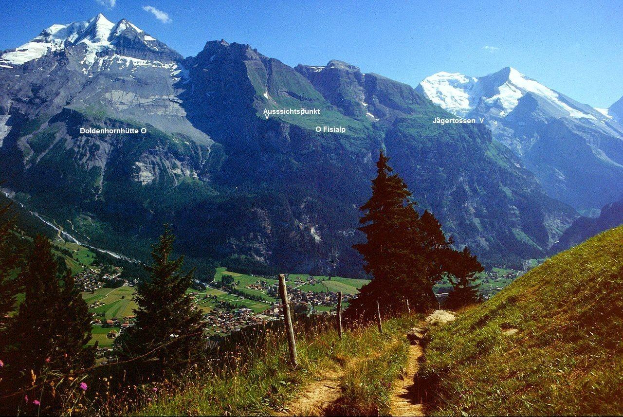 Doldenhorn, Fisistock und Balmhorn-Altels-Massiv vom Weg zur Golitschealp