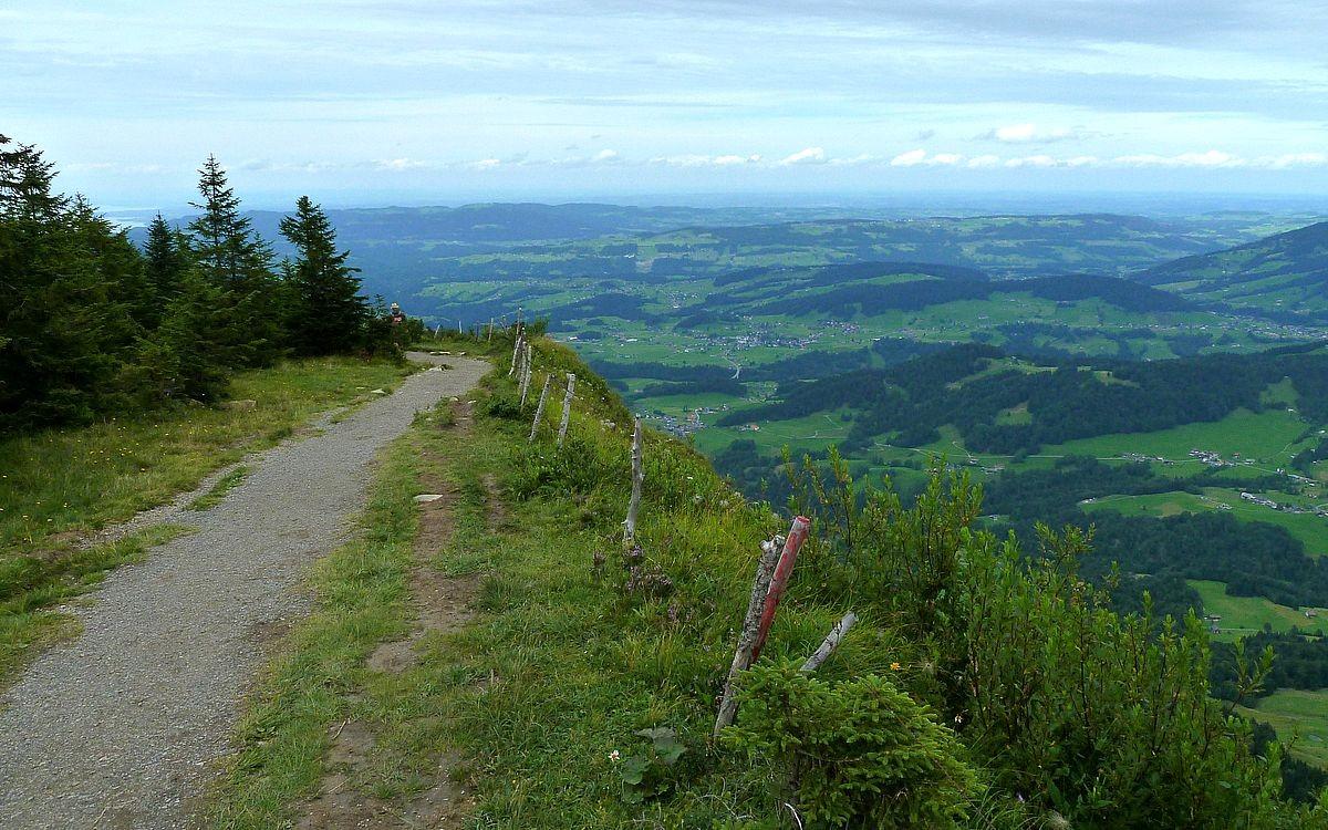 Vordere Niedere. Blick auf den vorderen Bregenzerwald mit Lingenau und auf das Westallgäuer Voralpenland.