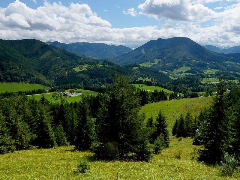 Rückblick vom Heiligensteinerweg  auf das Gebiet um Weyer