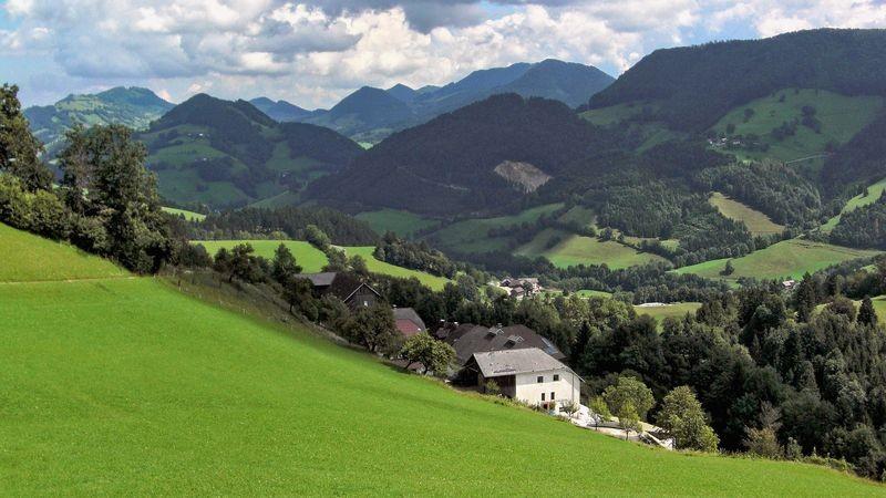 Der Ferienhof Rabenreith, der aus mehreren Gebäuden besteht, in schöner Aussichtslage.