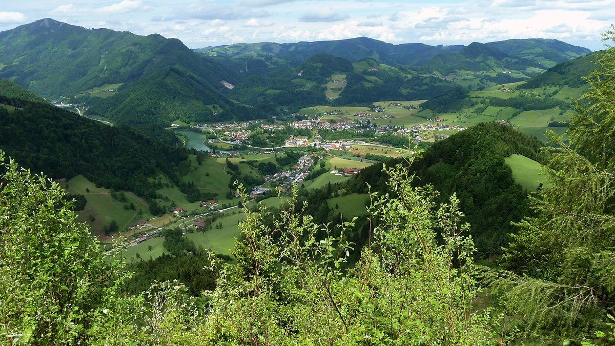 Großraming vom Gipfel des Rotstein.