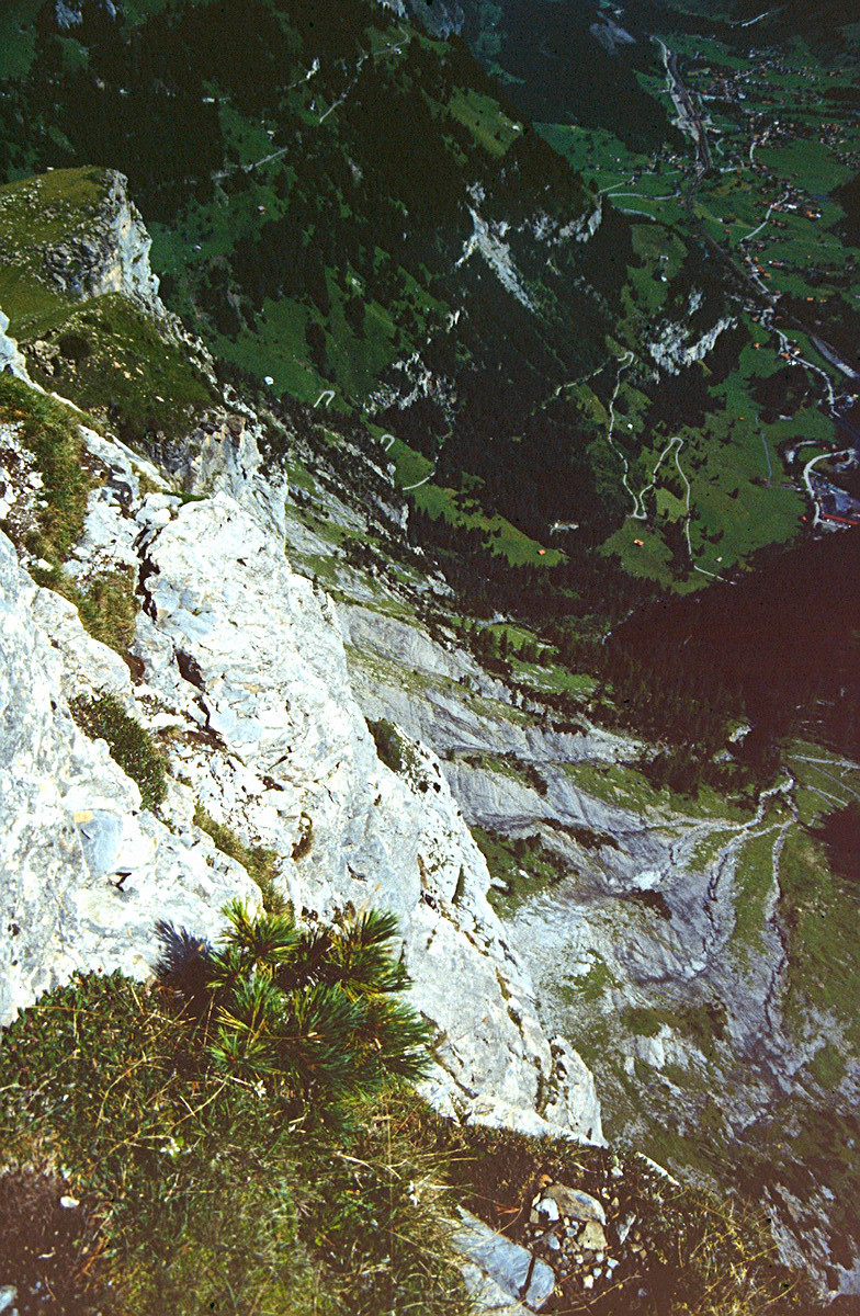 Schier Atem beraubender Tiefblick vom Gällihorn ins Tal bei Kandersteg