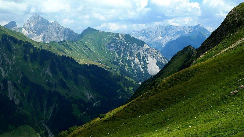 Zitterklapfen links, Blasenka Mitte, Braunarlspitzgebiet vom Abstiegsweg zur Stafelalp