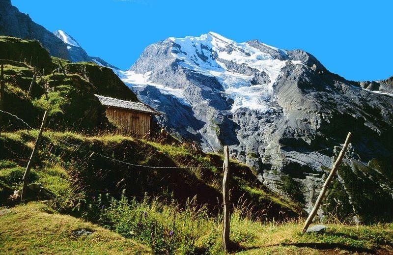 Materialbahn bei der Alp Oberbärgli. Blick zum Doldenhorn.