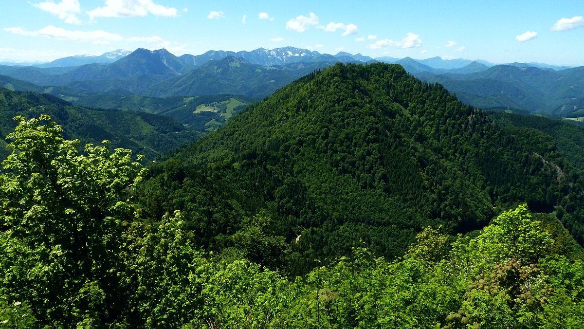 Blick vom Hügelchen neben der Ennser Hütte auf den Nationalpark Kalkalpen mit Größtenberg und Hoher Nock. Vorne rechts der Gamsstein.