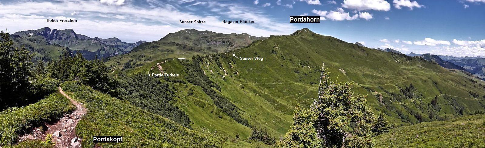 Sünser Weg und Portlahorn (2010 m)  vom Portlakopf (1905 m)