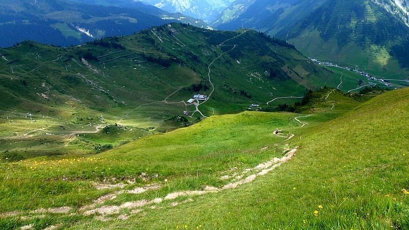 Steig zur Stafelalpe, Franz-Josef-Hütte und zur Sesselliftstation am Hahnenkopf