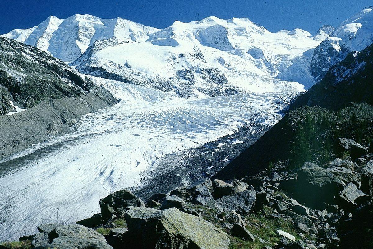 Piz Palü und Bellavista über Pers- und Morteratschgletscher am Nachmittag