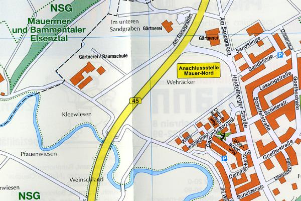 Ausschnitt aus dem Original Ortsplan der Gemeinde Mauer mit einem Abschnitt des Elsenzverlaufs.