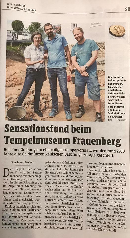 Erlebnis Archäologie Zeitungsartikel Klaus Schindl