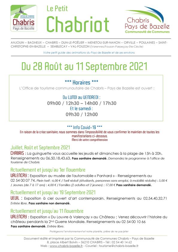 Le Petit Chabriot du 28 aout au 11 septembre 2021
